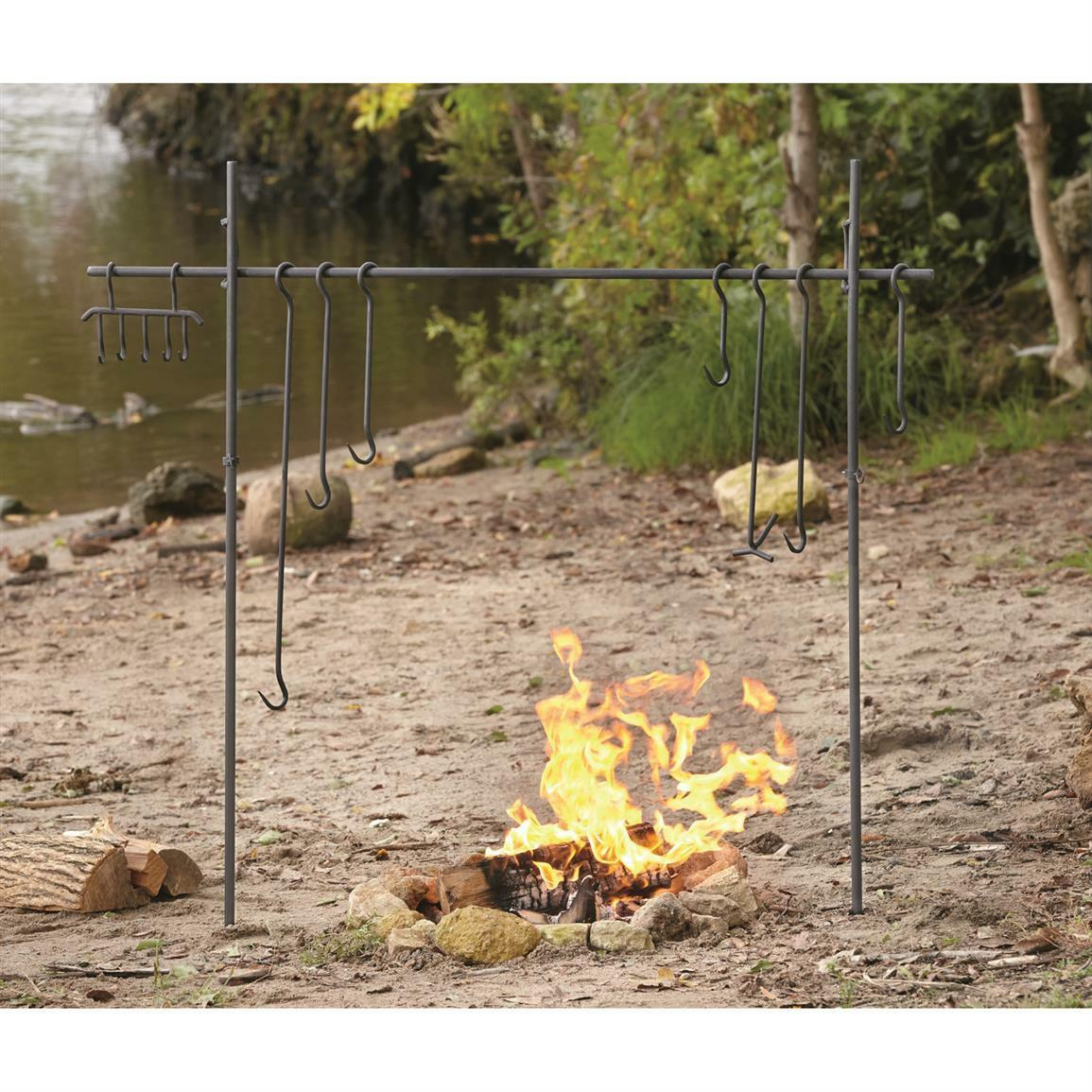 Outdoor w/ Campfire Cooking Equipment Camping Hook Set Heavy-Duty Iron w/ Outdoor Carry Bag 95dea8