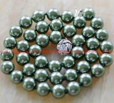 "Rare 10mm Dark Green South Sea shell Pearl Necklace 18"" X-03"
