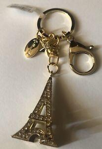 Hallmark-Eiffel-Tower-Key-Chain-Gold-Tone-Metal-Bejeweled-Lobster-Clasp-NEW