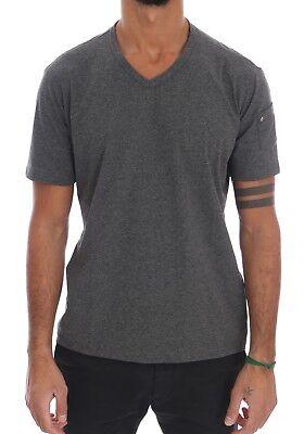S NEW $110 DANIELE ALESSANDRINI T-shirt Gray Cotton V-neck Mens Arm Pocket s