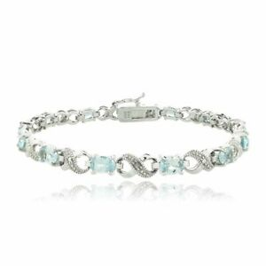 7-8CT-Blue-Made-with-Swarovski-Elements-Infinity-Bracelet-18K-White-Gold