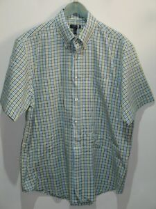 e5fa5cd1662 Van Heusen Men s L 16-16 1 2 (50) Green White Blue Checked Dress ...