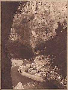 G2305-France-Dans-les-gorges-du-Verdon-Stampa-d-039-epoca-1930-vintage-print
