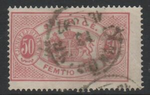 Sweden-1881-50-ore-Pink-Official-stamp-Perf-13-Used-SG-O39a