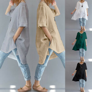 zanzea damen kurzarm asymmetrisch longshirt hemd oversize kn pfe oberteile plus ebay. Black Bedroom Furniture Sets. Home Design Ideas
