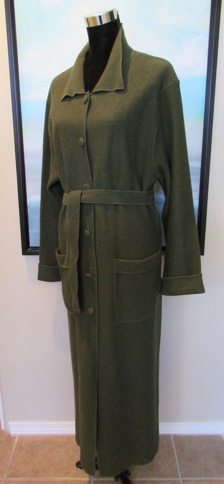 April Cornell Loden Green Boiled Wool Coat Sz S S S M 078df6