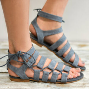 Details about Womens Gladiator Lace Up Flat Sandals Ankle Tie Wrap Summer Strappy Roma Shoes