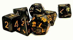 RPG-Wuerfel-Set-7-teilig-Poly-DND-Pearl-Black-dice4friends-Rollenspiel-w4-w20