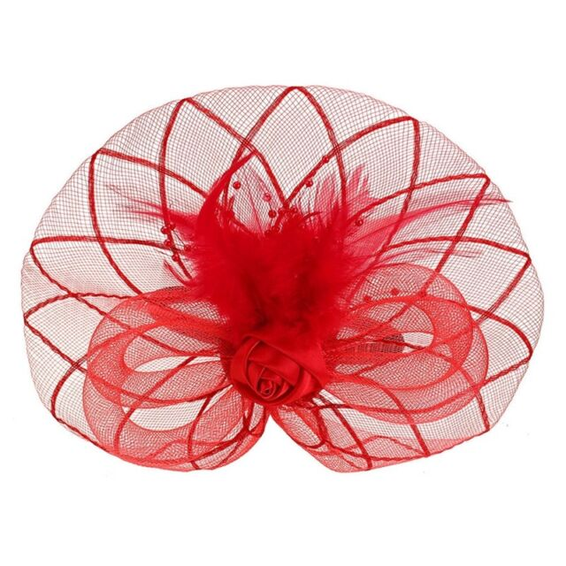 Flower Feather Fascinator Headband Hat Wedding Prom Ladies, Red J6O3