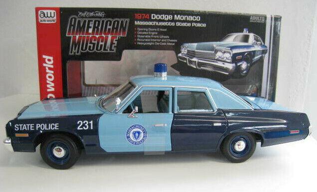 DODGE Monaco Massachusetts State polizia 1974 AUTO World 1 18 OVP NUOVO