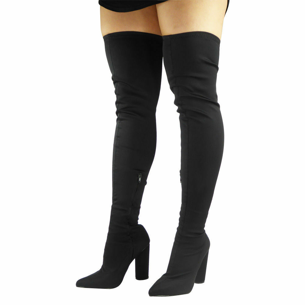 WOMENS THIGH HIGH STRETCHY OVER THE KNEE LYCRA BLOCK HEEL LADIES BOOTS SIZE 3-8