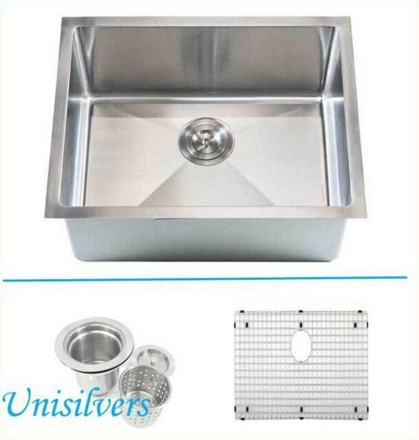 "23/"" 15mm Island Bar Sink Radius Square Corner Stainless Steel Kitchen 1//2/"""