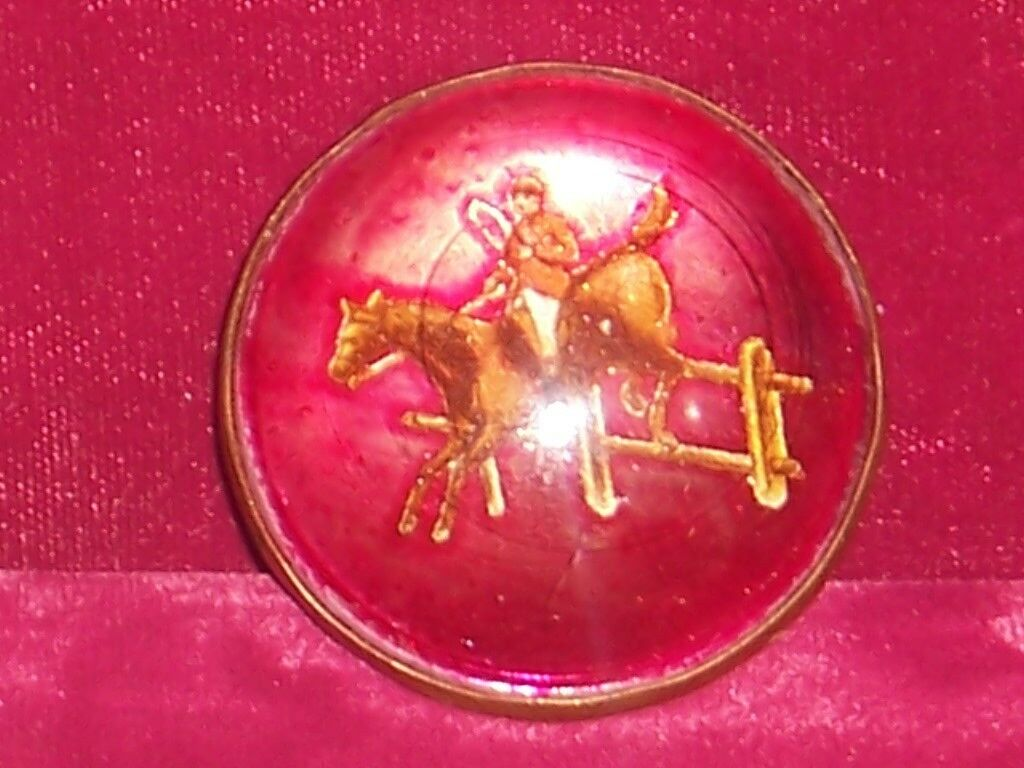 Horse Bridle pinktte pin  red with jumping horse rider   Vintage
