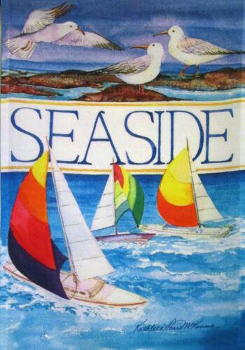 "CF95 SEASIDE BEACH SAILBOAT SEAGULL SHORE 12/""X18/"" GARDEN FLAG  BANNER"