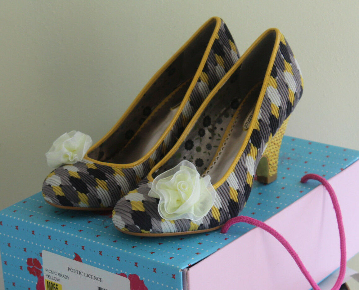 Poetic License -Sz 37 6.5 Funky Vintage-InspiROT Pumps Picnic Ready Heels Bow