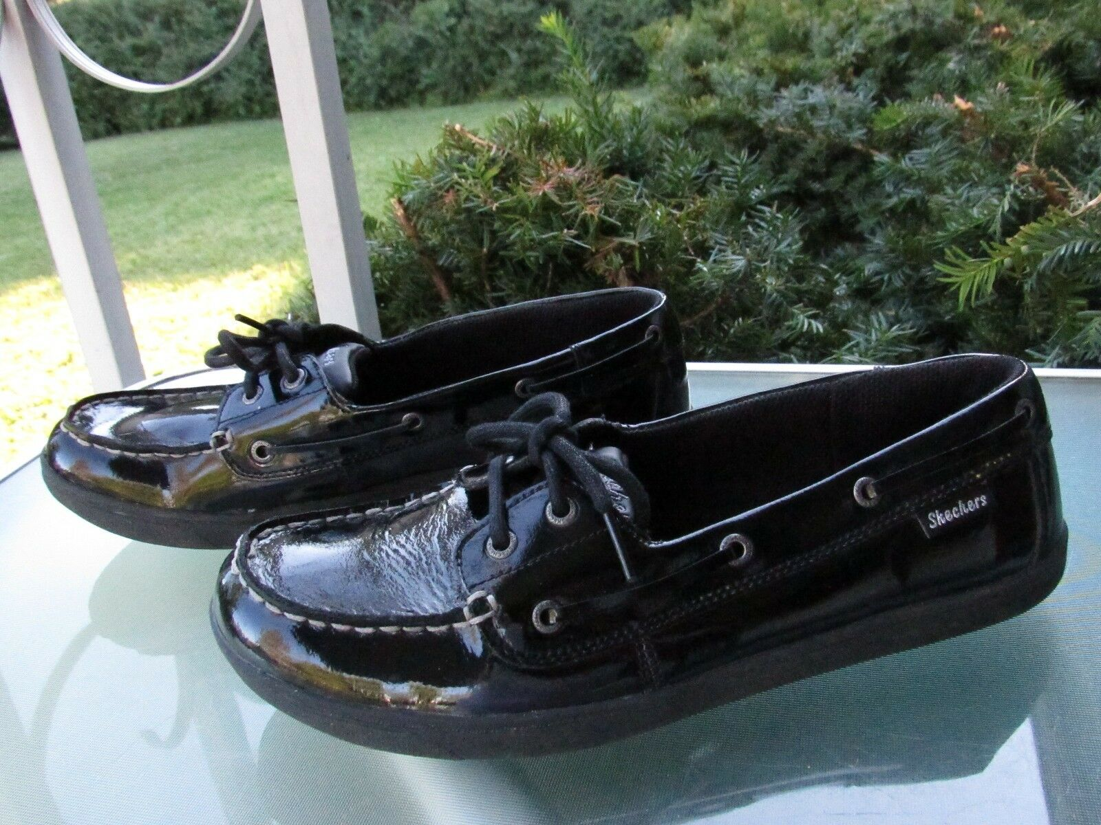 SKECHERS U.S.A Slip Womens Black Shiny Leather Slip U.S.A On Loafers Comfort Shoes, size 9 6cd170