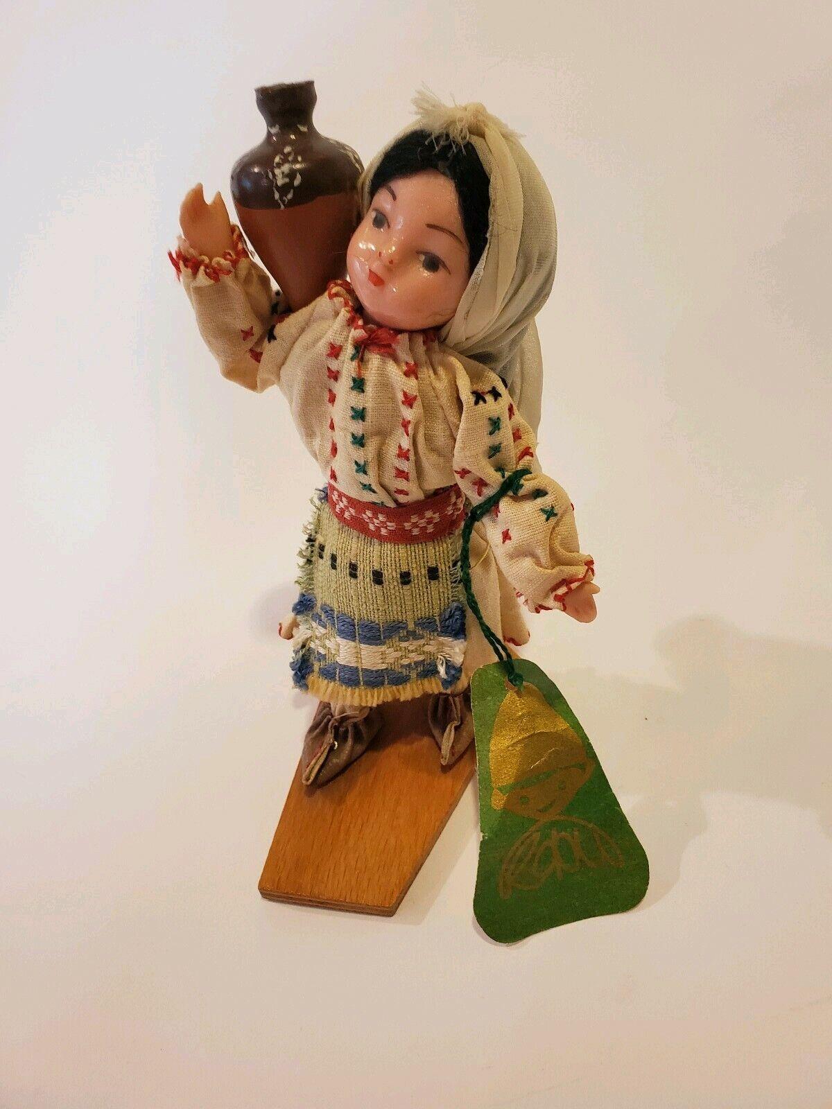 Rusia Soviética URSS Vintage Muñeca de Plástico 5  Paños étnicos hecho a mano con etiqueta D3