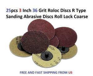 25pcs 3 Inch 36 Grit Roloc Discs R Type Sanding Abrasive Discs Roll Lock Coarse