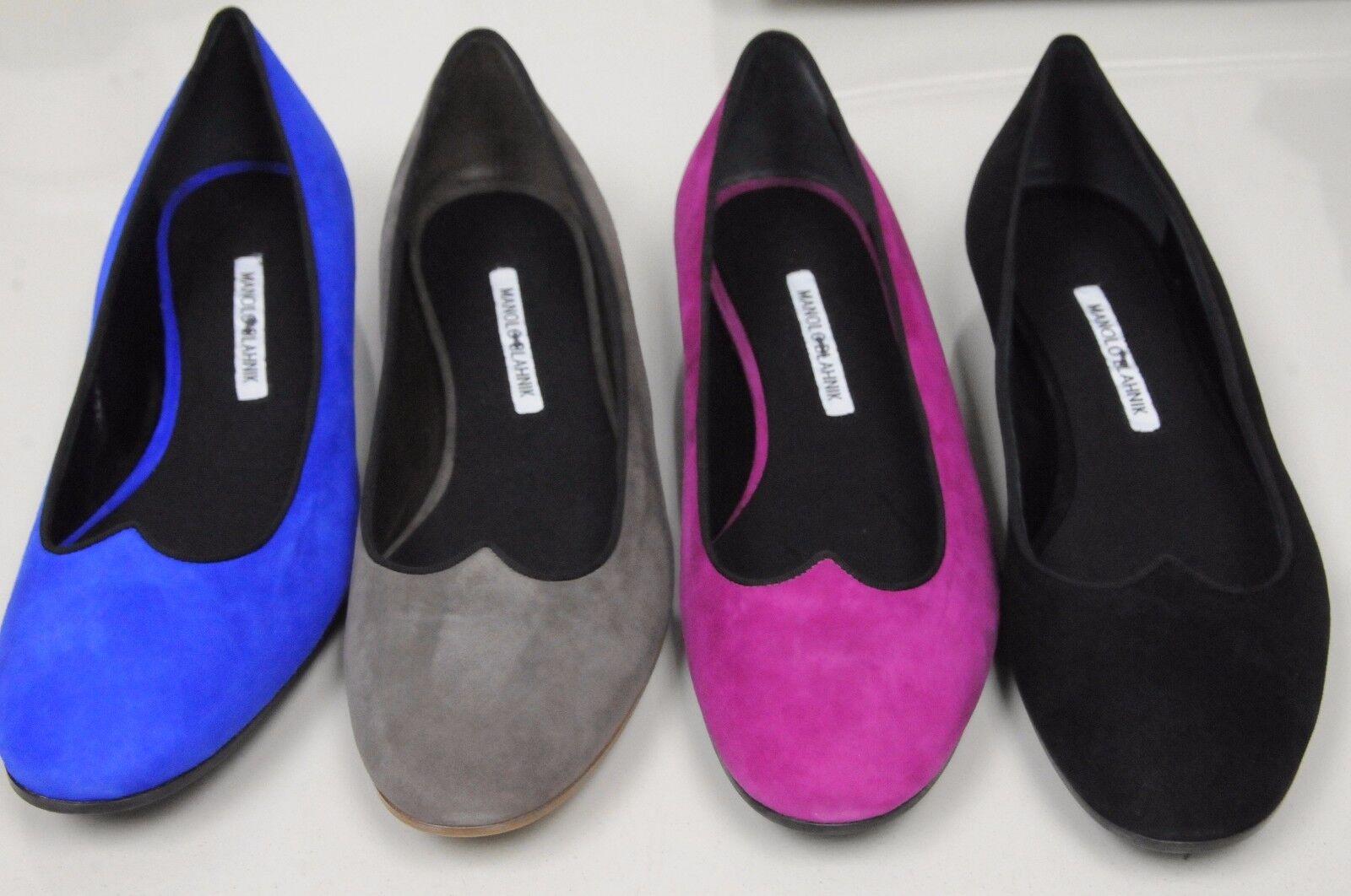 Neuf Manolo Blahnik Noir Noir Noir Rose Bleu Roi Daim Taupe Esper Chaussures Plates c45d9d