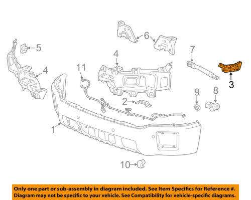 GMC GM OEM 14-15 Sierra 1500 Front Bumper-Side Retainer Bracket Left 23140544