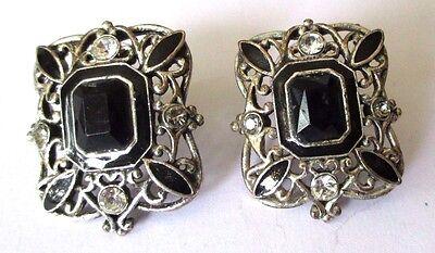 Boucles D'oreilles Percé Bijou Vintage Couleur Argent Cabochon Noir Cristal 633