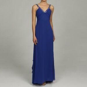 82e597233 NEW Morgan & Co Junior's V-neck Bead Trim Chiffon Gown Dress- Blue ...