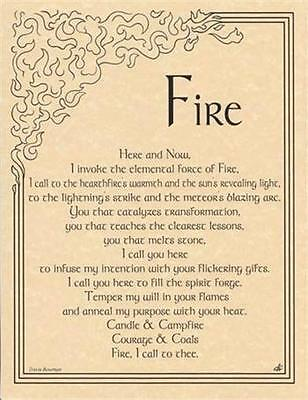 FIRE INVOCATION Parchment Page for Book of Shadows, Altar!