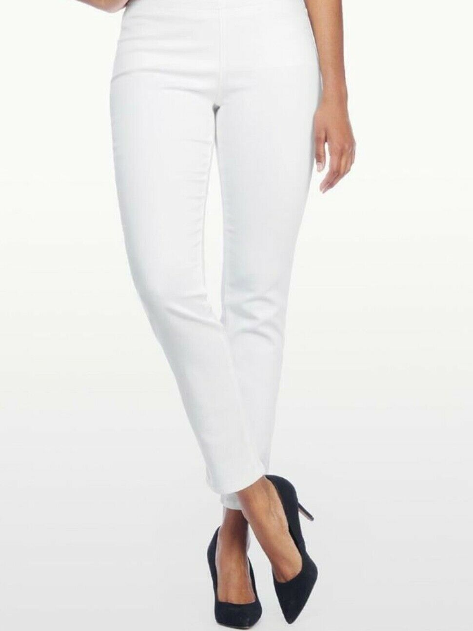 NYDJ ALINA PULL ON STRETCH ANKLE JEANS ENDLESS WHITE SIZE 12P