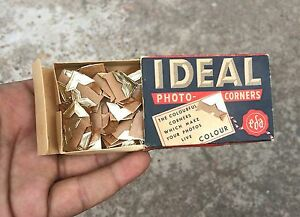 VINTAGE IDEAL PHOTO CORNERS AD PAPER BOX WITH ORIGINAL CORNERS , SWEDEN