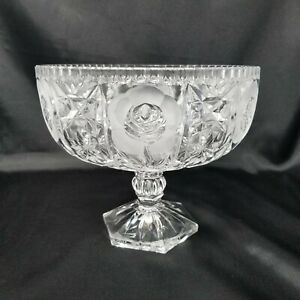 VTG-German-Hand-Cut-Lead-Crystal-Compote-on-Pedestal-Clear-And-Frosted-Roses