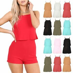 c92ddd969b0c Details about Womens All in One Open Back Jumpsuit Playsuit Square Neck  Frill Cami Plus Size