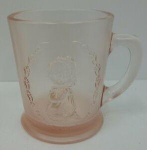 Vintage-Fenton-Pink-Satin-Glass-Girl-Child-039-s-Prayer-Mug-Cup-w-Original-Label