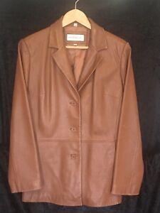 Jones 100 uomo pelle marrone medio Vgc vera York taglia New marrone giacca aZqnHwra