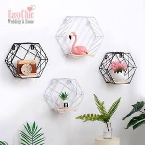 Industrial-Metal-Wire-Wood-Storage-Wall-Shelf-Modern-Loft-Display-Shelf-Hexagon