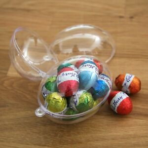 x10-qty-MEDIUM-8cm-EGGS-BAUBLES-CLEAR-ACRYLIC-PLASTIC-EGG-TWO-PIECE-easter
