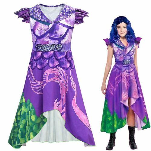 Descendants 3 Girls Long Dress Halloween Fancy Party Cosplay Costume Kids Adults