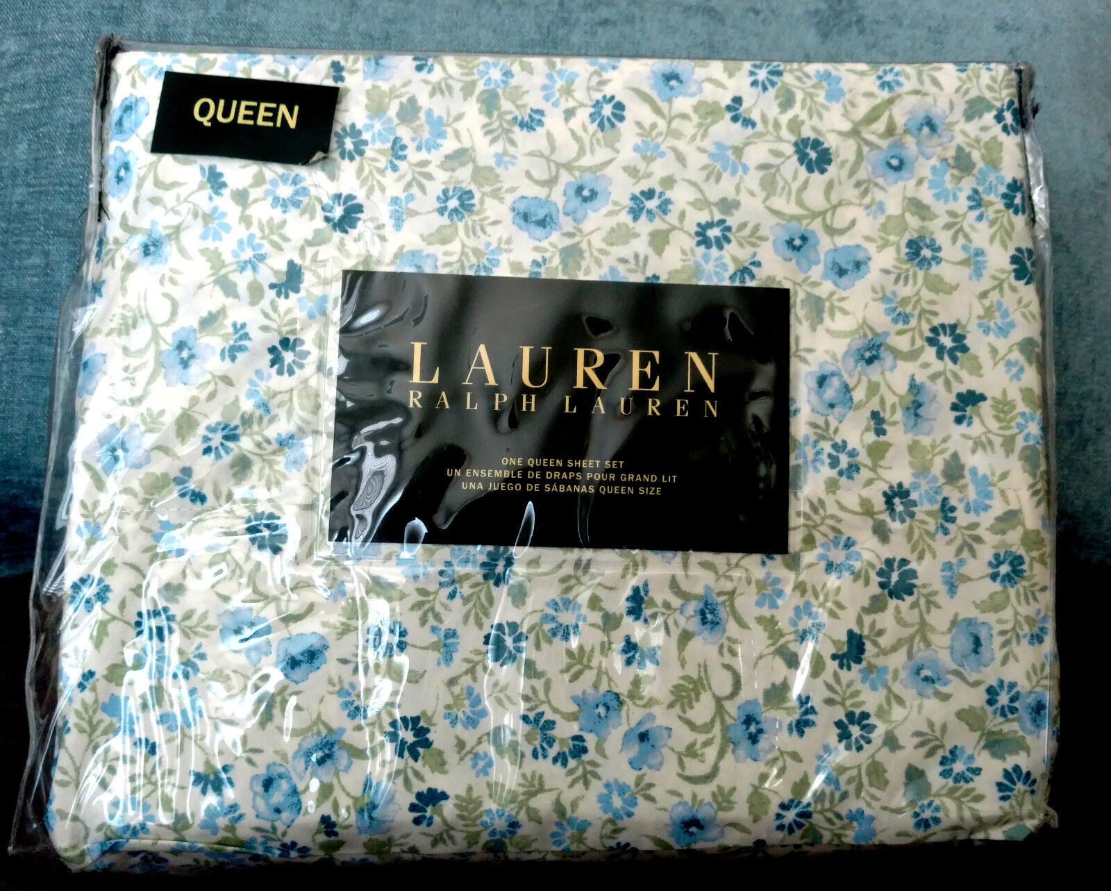 Ralph Lauren QUEEN 4 PC Cotton Sheet Set - Beautiful Blau and Grün Flower