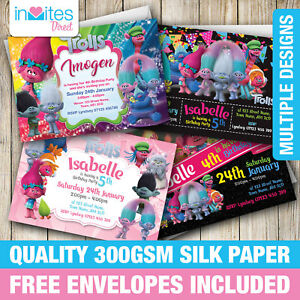 Image Is Loading Trolls Birthday Party Invitations Invites With FREE