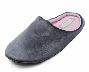 39d2f1bd1fdc9 Details about LADIES GREY SLIP-ON COMFY MULES WARM INDOOR OUTDOOR SLIPPERS  HOUSE SHOES 3-8