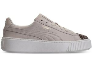 Puma Women s SUEDE PLATFORM CRUSHED GEM Shoes Marshmallow Gold ... 15a143caf