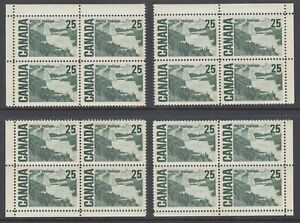 Canada-Uni-464p-MNH-1969-25c-Centennial-Choice-Matched-Set-of-Corner-Blocks