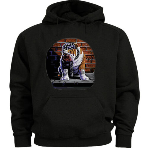 English Bulldog Tuff Dog Biker Hoodie Hooded sweatshirt