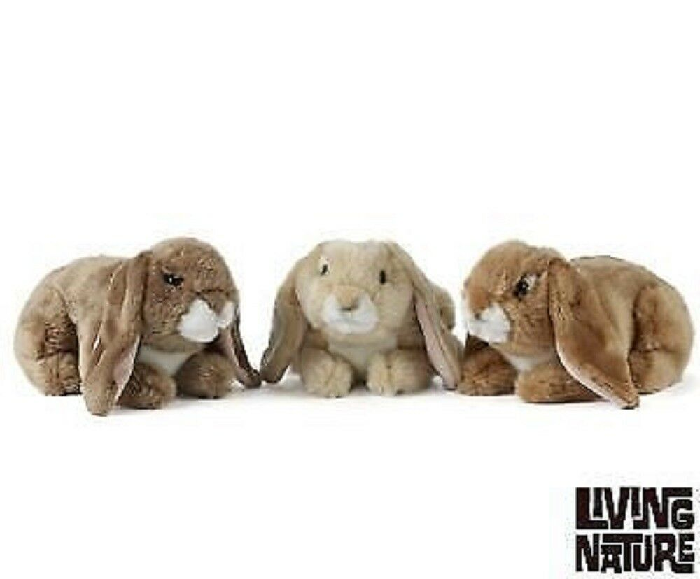 LIVING NATURE LOP EARED RABBITS - AN40 SOFT PLUSH BUNNY TEDDY CUDDLY WILD CUTE