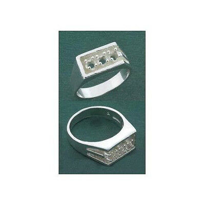 (3.5mm) Round (3) Stone Sterling .925 Ring Setting (Ring Sizes 9,10,11)