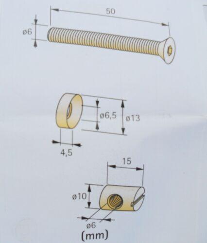 Verbindungsschrauben Verbindungsbeschlag 50 mm Möbelverbinder Möbelschrauben