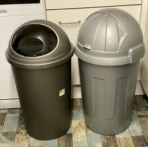 Bullet-Bin-2x-54lt-50lt-Silver-Gray-Feed-Recycle-Waste-Collection-Basildon-SS15