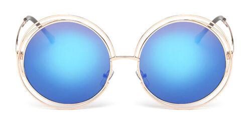 Vintage Round Oversized Lens Mirror Sunglasses Women Metal Frame Brand Designer