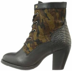 on sale a7e16 1f30c Details about BRONX USA MAR LIANA LACE UP STACKED HEEL CHELSEA BOOT  CAMOUFLAGE ARMY BOOTS I42