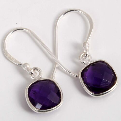 925 solid sterling silver Natural AMETHYST Cushion Gemstone  Earring C-5826