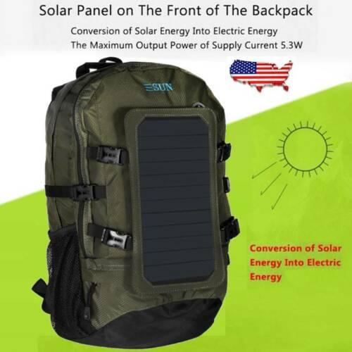 Hiking//Camping Solar Panel Charging Backpack Built-in 60W Waterproof Charger USB